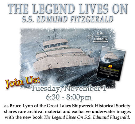 Edmund Fitzgerald the legend lives on Tuesday November 1 at 6:30 PM