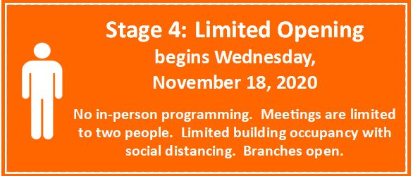 Beginning November 18th in person programming will be cancelled